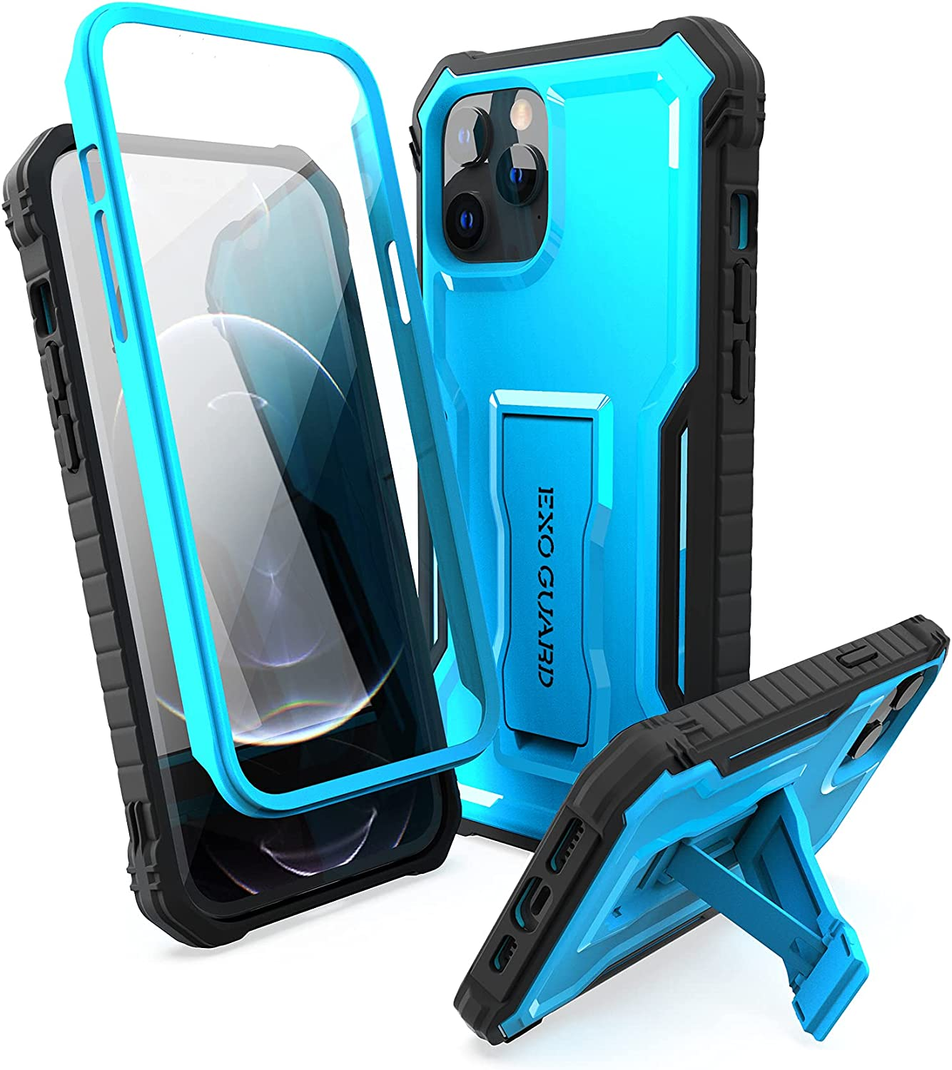 ExoGuard Compatible with iPhone 12 Pro Max Case, Rubber Shockproof Full-Body Cover Case Built-in Screen Protector with Kickstand for iPhone 12 Pro Max 6.7 inch Phone (Blue)