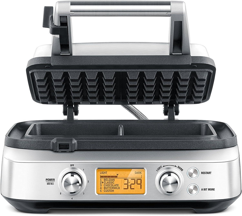 Breville Smart 2-Slice Waffle Pro Maker, Silver (Renewed)