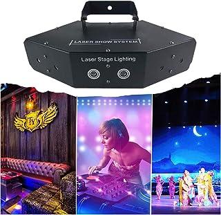 Jeffhome 6 Lens Laser Stage Light Scan Light,Voice Control Full Colorful KTV Bar Laser Stage Light,Line Beam Scans DMX DJ Dance Disco Bar Coffee Stage Laser Light Xmas Home Decor (Black)