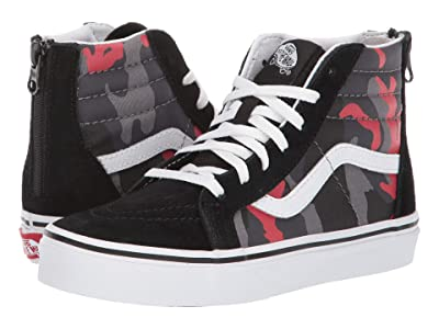 Vans Kids Sk8-Hi Zip (Little Kid/Big Kid) ((Camo) Black/Racing Red) Boys Shoes