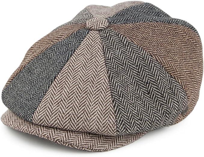 Men's Vintage Style Hats, Retro Hats Jaxon & James Herringbone Patch Newsboy Cap - Multi-Coloured £18.95 AT vintagedancer.com