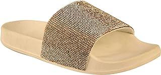 Fashion Thirsty Womens Diamante Comfy Sliders Flat Summer Sandals