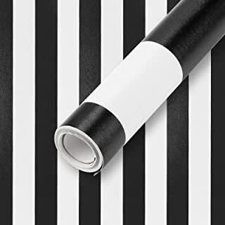 Wall Paper Stripe Black and White Wallpaper 17.7 in x 28 Ft PVC Self Adhesive Peel and Stick Wallpaper Easy to Clean Wall ...