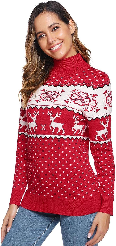 Abollria Pullover Damen Weihnachtspullover Winter Pullover Strickpullover Grobstrick Weihnachtspulli Rundhals Winterpulli f/ür Christmas