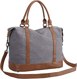 CAMTOP Women Ladies Weekender Travel Bag Canvas Overnight Carry-on Duffel Tote Luggage (Gray)