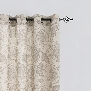 Paisley Scroll Printed Linen Curtains, Grommet Top - Medallion Design Burlap Vintage Jacobean Floral Printed Curtains Living Room Window Panels (Taupe, 50