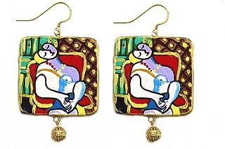 Orecchini in ceramica dipinti a mano – IL SOGNO DI PICASSO - Orecchini pendenti da donna, Gioielli in ceramica dipinta, Ga...