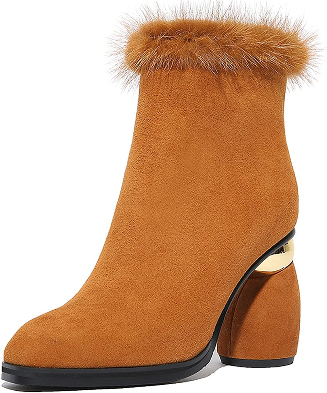 Nine Seven mocka mocka mocka läder Woherrar Square Toe Exquisite Heel Zip Ankle Handgjorda Sexiga Stövlar  på billigt