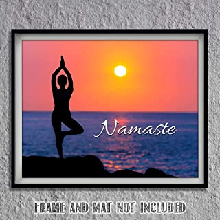 Namaste Sunset for Yoga Lovers- 8 x 10 Print Wall Art Ready to Frame. Modern Home Décor, Office Décor & Wall Print. Makes a Perfect Zen & Inspiration Gift for Yoga Lovers- Give Some Peace & Harmony.