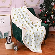 QIAOQIAOLO Christmas Blanket,Decorative Blanket Star Golden Stars Pattern Illustration Creative Stylish Birthday Bachelorette Theme Print Soft and Comfortable,(60 x 78 inch) Gold White