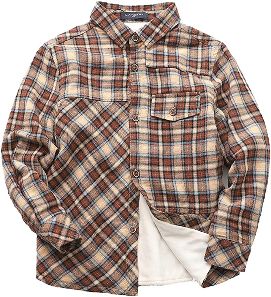 Abalacoco Boys Classic Shirt Soft Winter Warm Fleece Liner Cotton Button Down Plaid Top Shirt (6-7 Years, Brown)