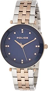 Police Montaria Analogue Silver And Rose Gold Case, Blue Dial And Silver And Rose Gold Watch For Women - PL 15569MSR-03MTR