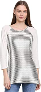 RUTE Cotton Jersey Full Sleeves Stripes T-Shirts for Women