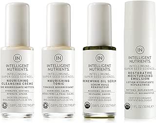Intelligent Nutrients Combination & Dry Skin Care Travel Set - Organic Skin Care Set with Cleansing Creme, Nourishing Tonic, Renewing Oil Serum & Restorative Moisture Emulsion (Set of 4)