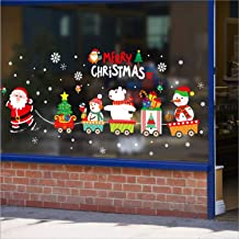 Amtoodopin Merry Christmas Window Stickers Santa Claus and Snowman Window Clings Removable Christmas Ornament Decor for Home Office Window Display