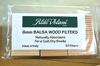 30 Pack of Aldo Velani Italy 6mm Balsa Wood Filters for Corncob Pipes
