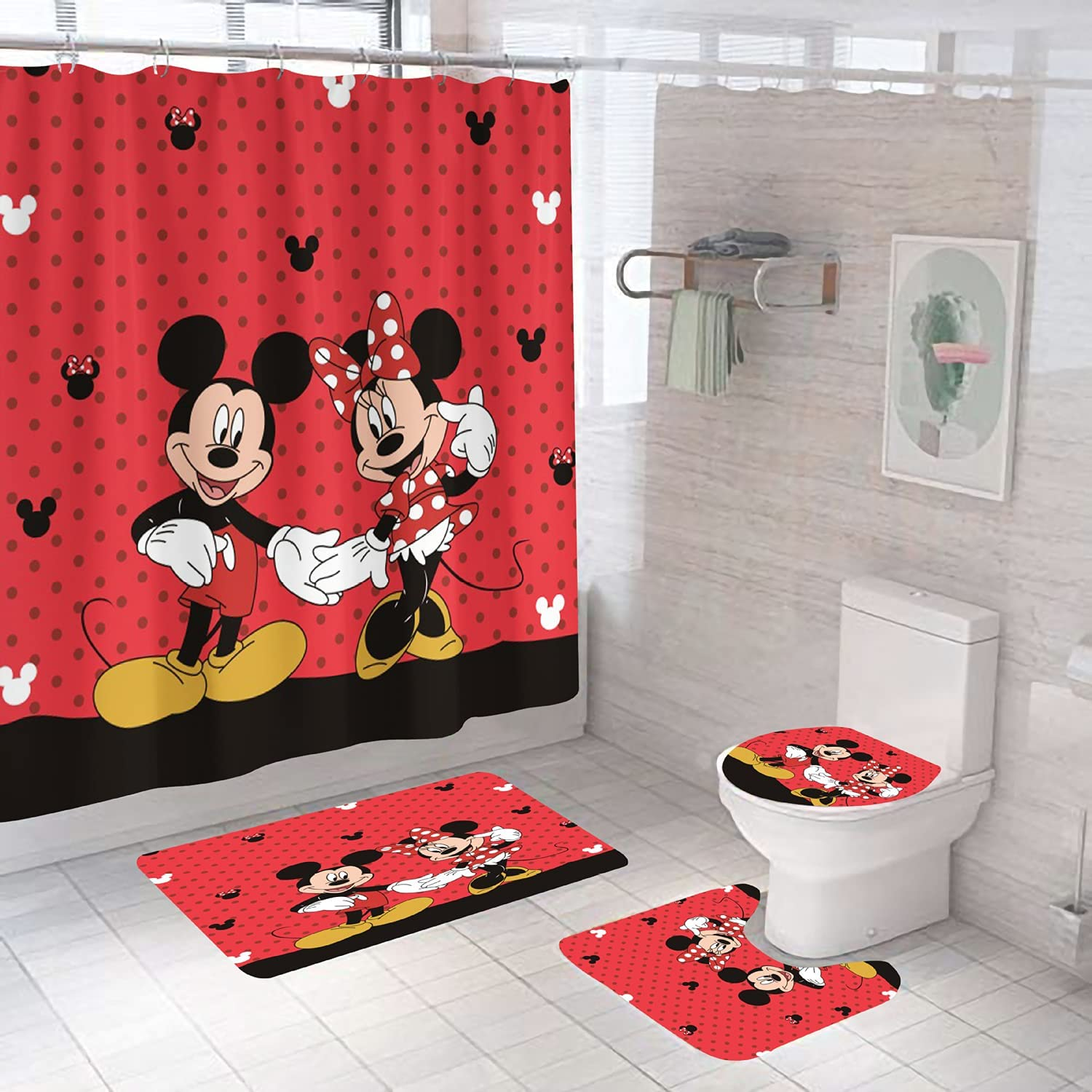 4pcs Mickey& Minnie Mouse Shower Curtain Set With Non-slip Rugs,toilet Lid Cover And Bath Mat,extra Long Waterproof Fabric Shower Curtain Bathroom Curtain With 12 Hooks For Home Bathroom Decor,72