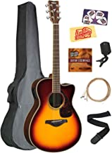 Yamaha FSX830C Solid Top Small Body Acoustic-Electric Guitar - Brown Sunburst Bundle with Gig Bag, Tuner, Strings, Strap, ...