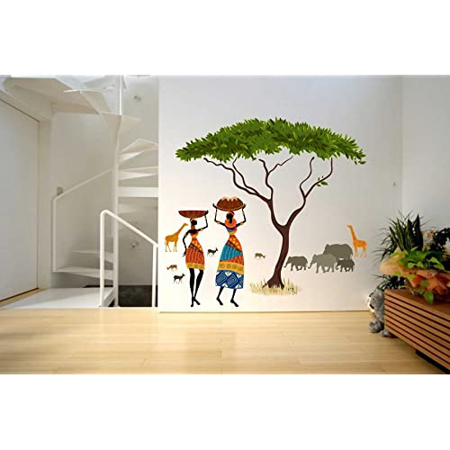 Rawpockets 'African Jungle Story' Wall Sticker (PVC Vinyl, 100 cm x 90cm, Multicolor)
