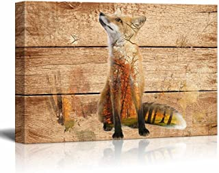 wall26 - Double Exposure Rustic Canvas Wall Art - Fox in The Wild on Vintage Wood Background - Giclee Print Modern Wall Decor   Stretched Gallery Wrap Ready to Hang - 16x24 inches