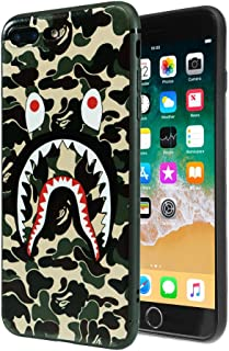 "TatyCases Shark Face Protective Durable Soft Phone Case Compatible with iPhone 7/8 Plus - 5.5""- Color Green"