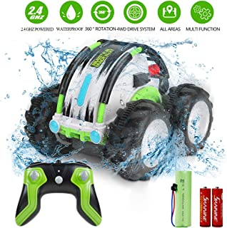 Innoo Tech Remote Control Car Waterproof Stunt Car- 2.4Ghz 4WD Off Road Water & Land Rc Cars-Double Sides Stunt Car with 360° Spins & Flips Racing Car Toys for Kids Birthday Gift, Green
