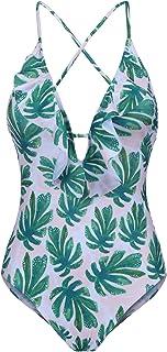 Ekouaer Womens Strap One Piece Swimwear Deep V Neck Print Bathing Suits Monokini Swimsuits for Women S-XXL