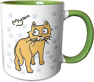 3dRose Warya - Animals. - Ginger Cat Say Meou - 15oz Two-Tone Green Mug (mug_299938_12)