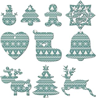 Christmas Mistletoe Santa Bell Green Christmas Ornaments Christmas Tree Decorations Include Snowman Christmas Tree Reindeer and Angel– Set Of 10 Pieces