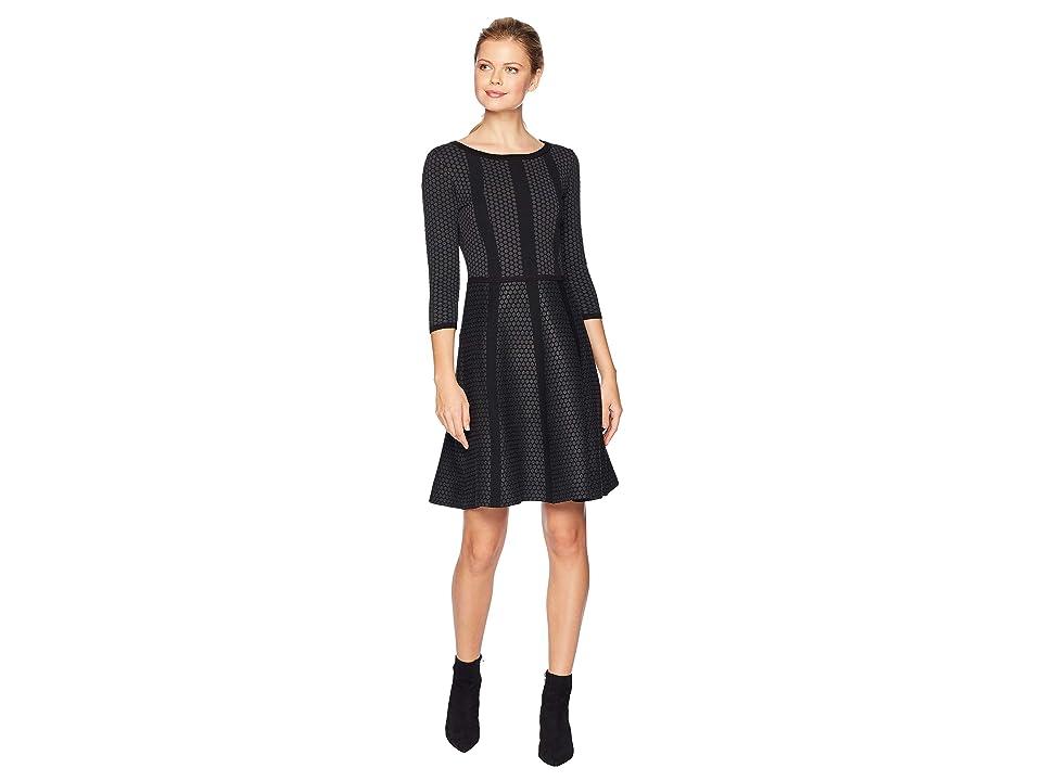 Gabby Skye Fit Flare Sweater Dress (Graphite/Black) Women