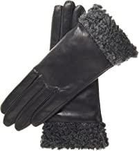 Fratelli Orsini Women's Cashmere Lined Leather Gloves with Persian Lamb Cuffs