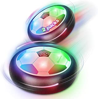 اسباب بازی های توپ فوتبال Duckura Air Hover اسباب بازی برای کودکان ، بازی های داخل سالن با چراغ های LED و کفگیر ، جشن تولد کریسمس اسباب بازی های پسرانه دختران کودکان نوپا سن 5 6 7 8 9 10 ساله (2 بسته)