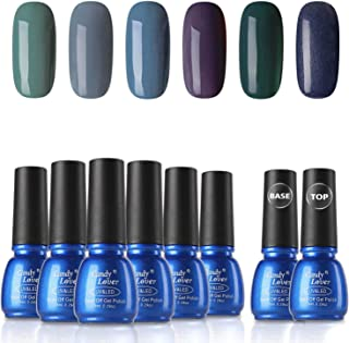 Gel Nail Polish Sets 8 Bottles - Candy Lover Selected 6 Popular Fall Colors Green Blue Purple Pastel with Top Base Coat Set, UV LED Soak Off Nail Gel Polish Home Manicure Varnish Kit