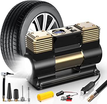 WOLFBOX Portable Air Compressor for Car Tires, Tire Inflator Portable Air Compressor with LED Light, 12V DC Digital Tire Pump, Car Air Pump with Fast Inflation for Car,Bicycle,Other Inflatables: image