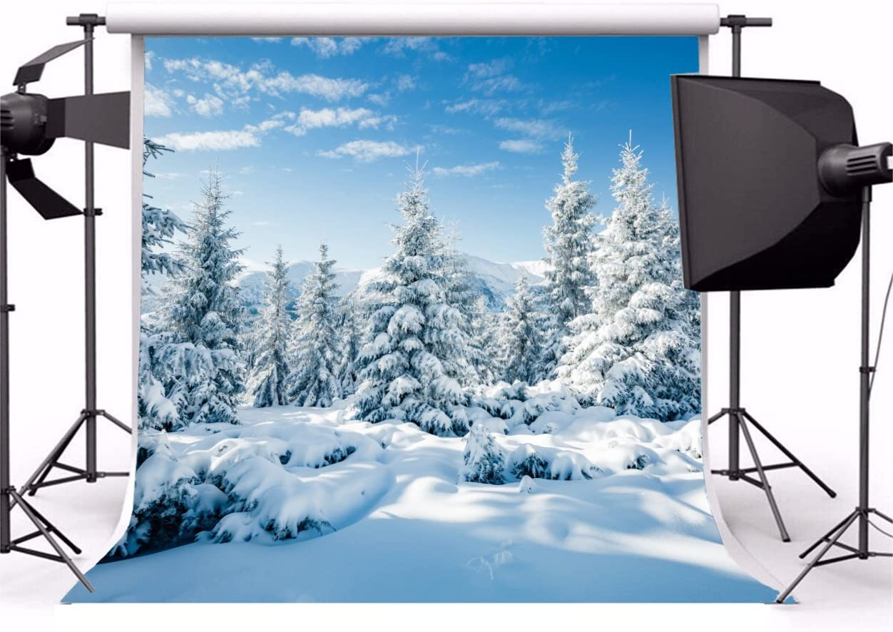 Leyiyi 10x6.5ft Photography Background Snow Covered Mountain Backdrop Cold Winter Pine Forest Sunlight Merry Christmas Happy New Year Alps Blue Sky Cloud Photo Portrait Vinyl Studio Video Prop