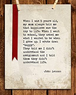 "John Lennon Quotes Wall Art- ""I Want To Be Happy When I Grow Up!""- 8 x 10"