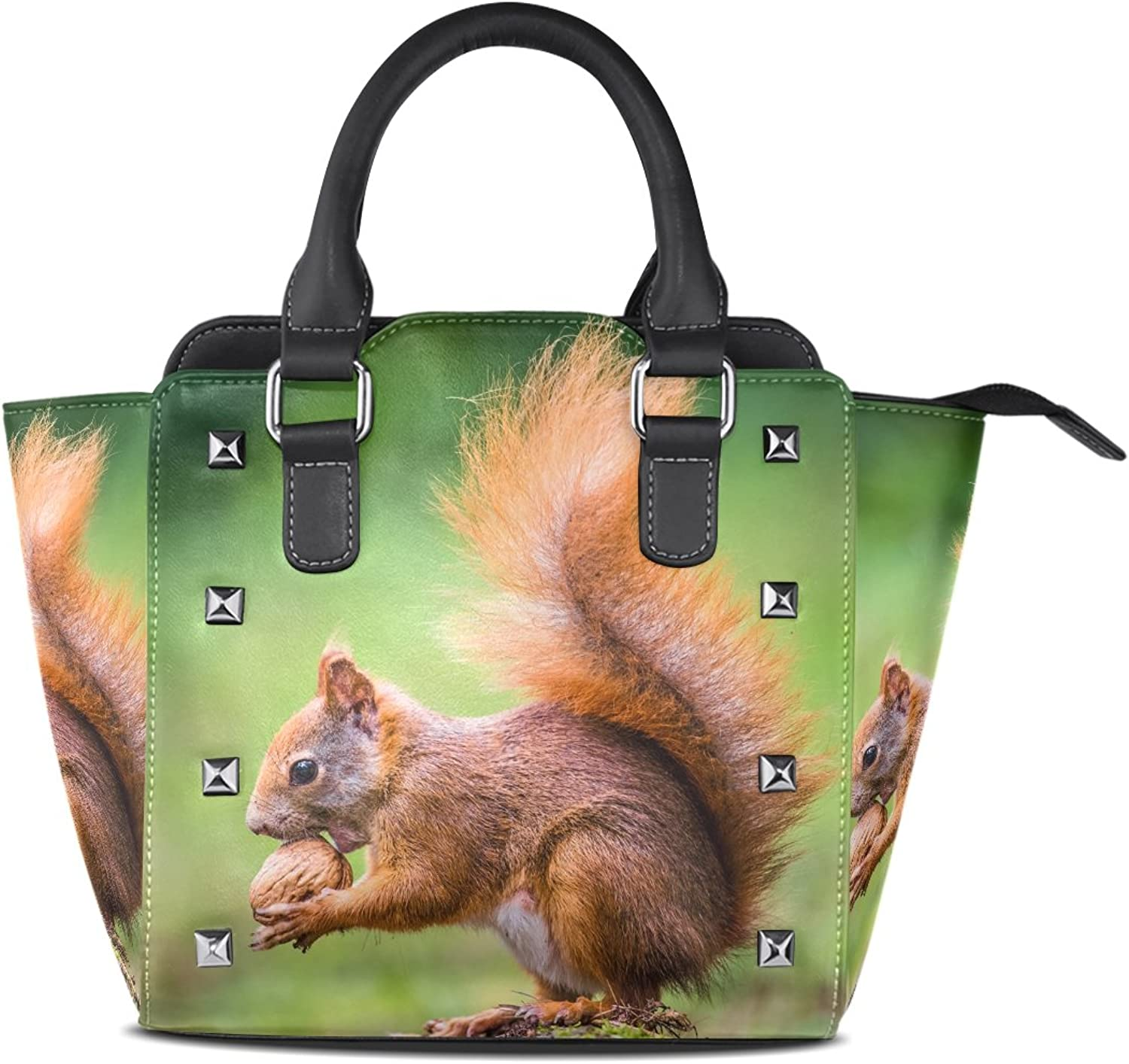 Sunlome Squirrel Eat Nut in Wild Nature Print Handbags Women's PU Leather Top-Handle Shoulder Bags