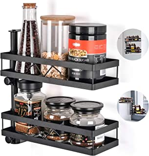 Spice Rack Organizer for Kitchen, Door Mount, Wall Mounted - Set of 2 Tiered Hanging Shelf for Spice Jars - Storage in Cupboard, Kitchen or Pantry - Bathroom Shower Storage Corner Pole Black