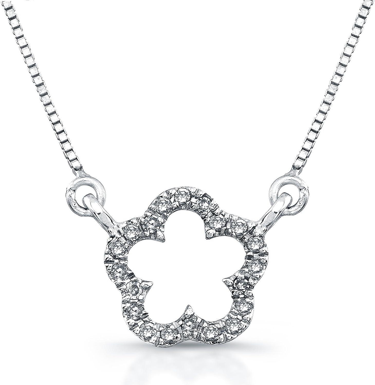 Victoria Kay 14k White gold Diamond Flower Necklace (1 10cttw, JK, I2I3), 16