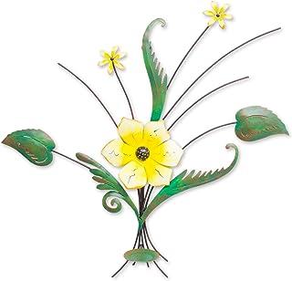 Novica Floral Largeスチール壁彫刻、緑、黄色、' Lovely Lily '