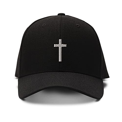 Cross Silver Embroidered Adjustable Structured Baseball Hat 4925435adaac