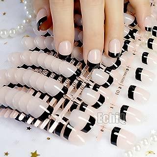 Natural Color French Nail Black Tips Short Net Fashion Press On Nails Ladies Fake Nails Wholesale on Nail Tree 240 Nails N209