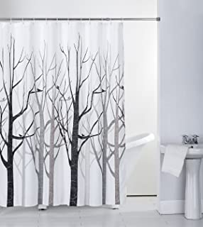 Shower Curtain Fabric Grey Tree with Hooks Bath Curtain Waterproof, 72x72 INCH