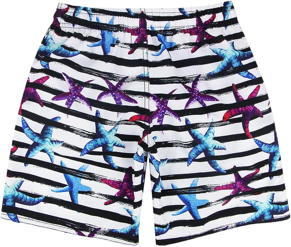 QRANSS Boys Swim Trunks Elastic Waistband Beach Shorts with Drawstring