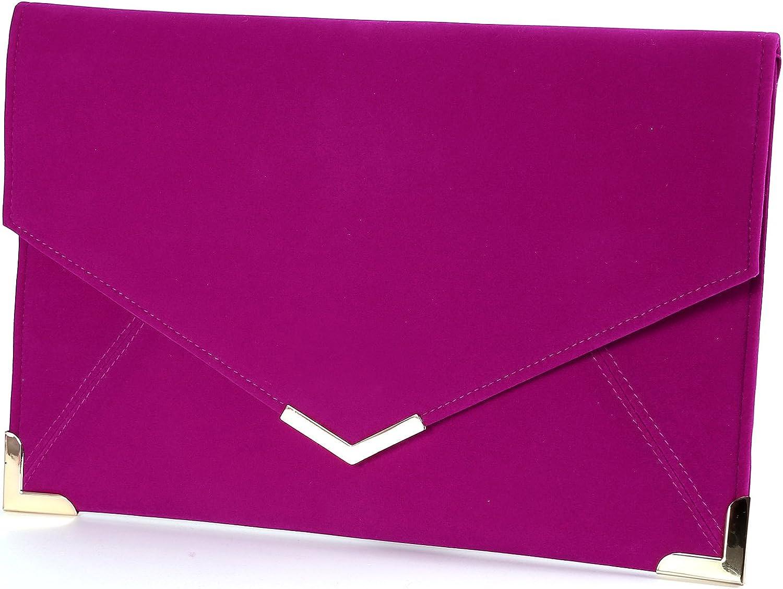 Anladia Velvet Envelope Clutch Large Evening Bag Women Bag MetalTrim Shoulder Bag
