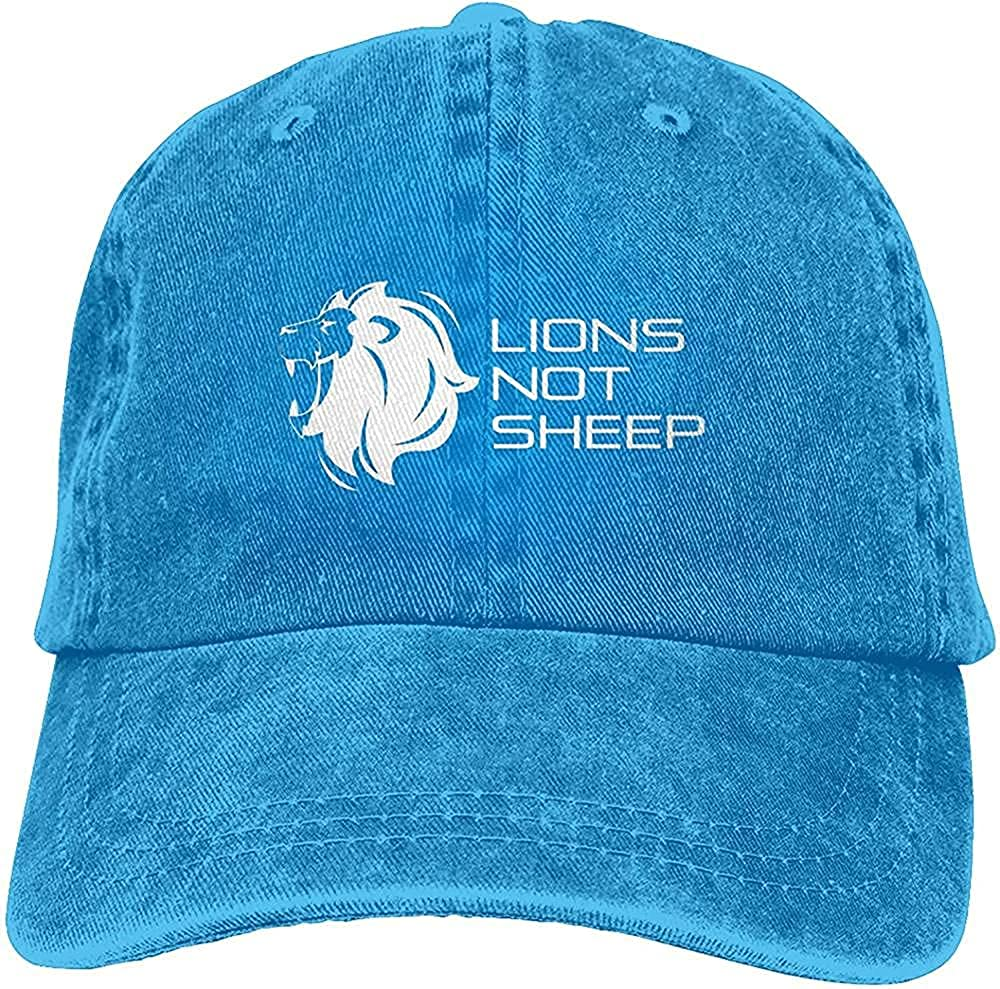 Gorgeous Raise Lions Not Sheep Hat Lion Lover Cotton Adjustable Retro Washable Cowboy Hat Unisex Baseball Cap Trucker Hat Black