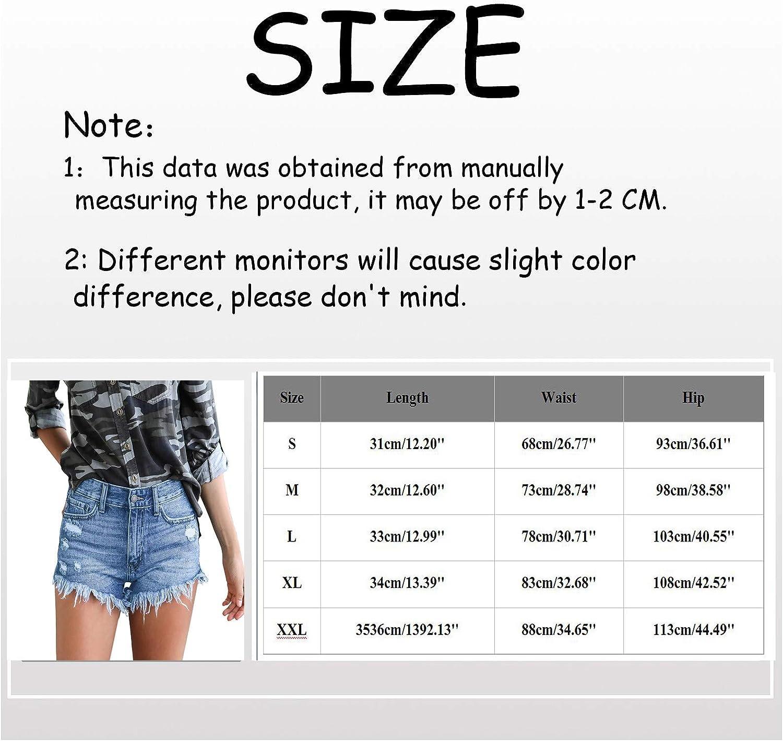 Women's Casual Denim Shorts Frayed Raw Hem Ripped Jeans Shorts