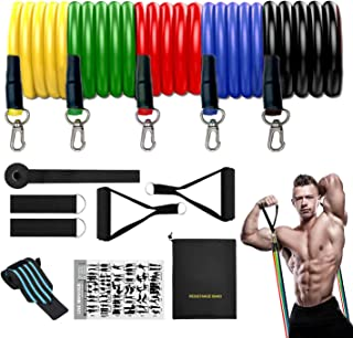 ANDSTON 11Pcs Resistance Bands Set, 5 Stackable Exercise...
