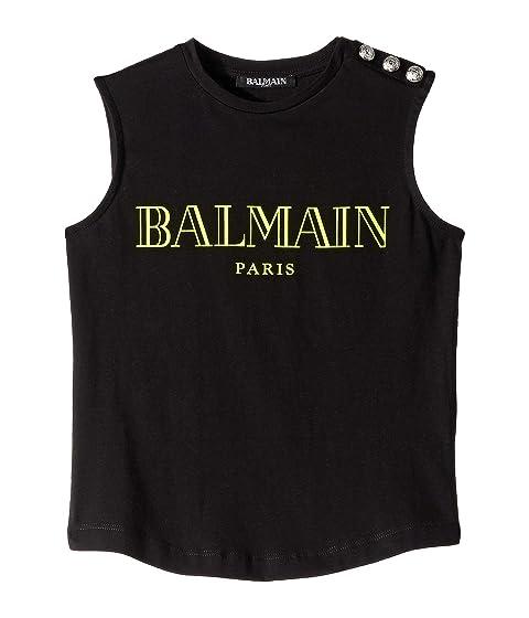 Balmain Kids Sleeveless Classic Logo Tee w/ Buttons On Shoulder (Little Kids/Big Kids)
