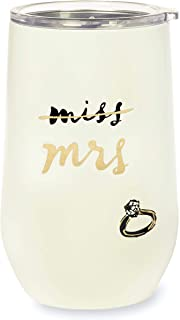 Kate Spade New York Bridal Insulated Stainless Steel Wine Tumbler, 16 Ounce Double Wall Travel Cup with Lid, Miss to Mrs.